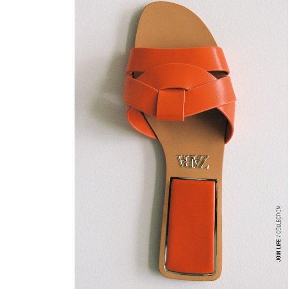 Zara Low Heeled Crossed Leather Sandal